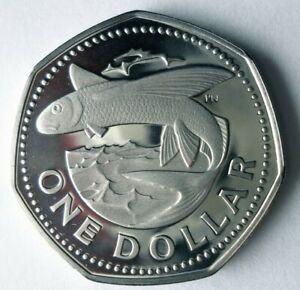 1973 BARBADOS DOLLAR - Rare Proof Crown Coin - Big Value - Lot #S26