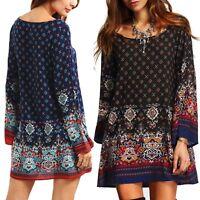 Plus Size XXXL Women Boho Retro Long Sleeve Short Mini Dress Casual Beach Dress