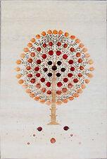 "5'8"" x 7'10"" US Pomegranate Gabbeh Handknotted Wool & Silk Area Rug Carpet"