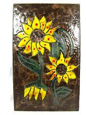 Beautiful 70´s design Ruscha Keramik  wall plaque 767 yellow flowers  37 x 23