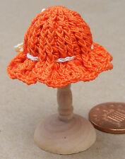 1:12 Scale Ladies Orange Crochet Hat Dolls House Miniature Clothing Accessory T3