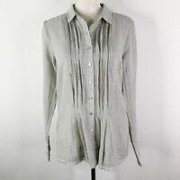 Sundance Catalog Auden Shirt Small 100% Cotton Pleated Button Up Striped Blouse