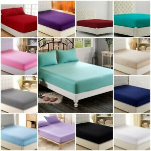 Cotton Rich Easy Care Fitted Sheet 30cm Deep Percale Bed Sheets all sizes
