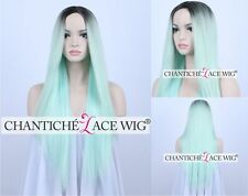 Ombre Mint Green Long Straight Heat Resistant Synthetic Hair Machine Made Wig UK