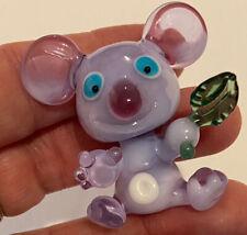 "Adorable Detailed 1 1/2"" Lampwork Glass Koala Bear W/ Leaf Miniature Figurine"