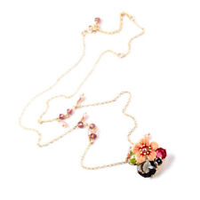 Beautiful colored enamel flowers rhinestone necklace is rare women's jewelry