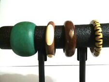 Lot Of 4 Wooden Bangles Green Animal Print
