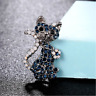Cat Brooch Pin Badge Gift Silver Blue Rhinestone Antique Vintage Style Jewellery