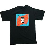 Stussy Black Box Graphic T-Shirt Spell Out Black Blue Red Size Small Mens