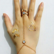 New Fashion Women Rhinestone Crystal Gold Plated Ring Bracelet Punk Sexy Jewelry