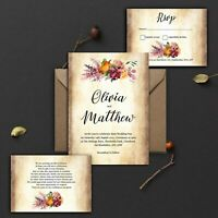 WEDDING INVITATIONS Personalised Vintage Rustic Berry Mulberry Pink PK 10