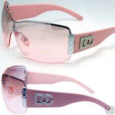 DG Rimless Metal Heart Shield Womens Designer Wrap Sunglasses Shade Pink Fashion
