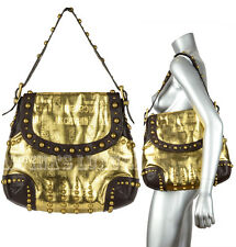 JUST CAVALLI BY ROBERTO CAVALLI BAG GOLD LARGE FABRIC & LEATHER STUDDED