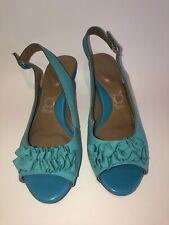 YOU by Crocs Turquoise Blue ruffle low sling back open toe heels 9.5