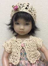 "*Ecru""  Sweater & Hat~Effner Darling ~ 3/4 Sleeve 13"" Dolls & 10''"