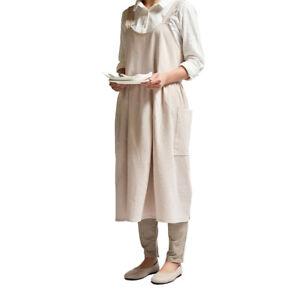 Women Cotton Linen Apron Pinafore Dress Home Kitchen Cafe House Florist Workwear