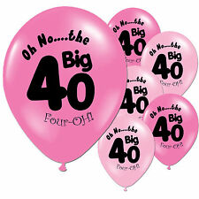 "10 Fushcia Baby Pink 40th Birthday Party 11"" Pearlised Latex Printed Balloons"
