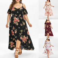 Plus Size Womens Casual Short Sleeve Cold Shoulder Boho Flower Print Long Dress
