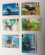 Poland wild animals 1973 x 6 postage stamps used