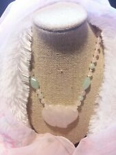 Vintage Pastel Jade & Rose Beaded Quartz w/Heart Necklace - Gorgeous!