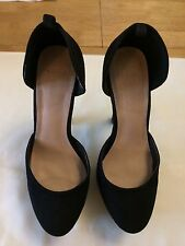 Asos Women Black Suede Leather Block High Heels Platforms Size 4 UK  VERY NICE