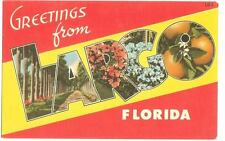 Largo , Florida   - Large Letter Linen Postcard 1940's Tichnor - Unused