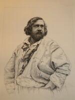 ap NADAR (1820-1910) GRAVURE XIX PORTRAIT THEOPHILE GAUTIER PARNASSE ROMANTISME