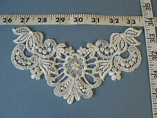 4182 APPLIQUES COLLARS YOKES Embroidered Ivory Rayon Floral Venice Lace 12 Pcs