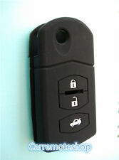 MAZDA 3 2 6 SILICONE CAR 3 BUTTON FLIP KEY COVER CASE MPS CX7 CX9 black