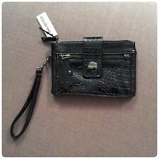 Womens Unlisted Black Patent Leather Wristlet Purse Wallet Clutch NWT RTL $60