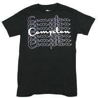 Mens Black Compton Repeating Graphic Tee T Shirt