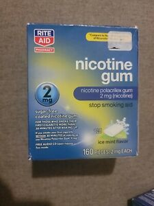 Rite Aid Nicotine Gum 2mg Ice Mint Flavor 160 Pieces Exp 5/22 FREE USA SHIPPING