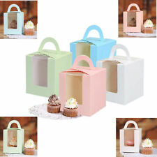 20Pcs Single Cupcake Muffin Fairy Cake Boxes Bags With Clear Windows Boxes Party