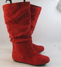 new ladies Red Flat Slouch  Round Toe Sexy Knee Boots Size 7