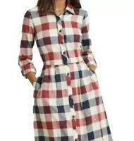 ModCloth Women's XS Jam Girl Mixed Berry Plaid Button Up Shirt Dress Pockets