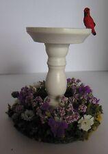 Dollhouse Miniature Handcrafted white Bird Bath - Bird & flower garden base