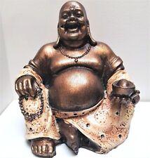 HAPPY BUDDHA ALMS BOWL MANDALA BEADS FENG SHUI RESIN STATUE ORNAMENT BRONZE CREM