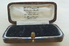 Vintage W T Dunnell Small Leather, Silk & Velvet Bar Brooch Presentation Box