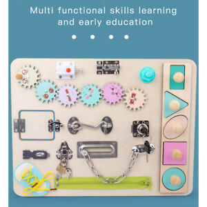 Wooden Busy Board Button Dressing Basic Skill Montessori Toys for Toddlers