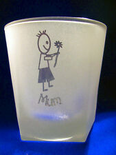 Five Sided Glass - Mum & a Little Boy with a flower Sand Etched on it.