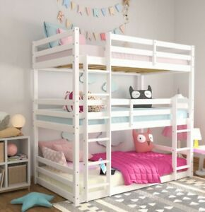 Campbell Wood Triple Twin Bunk Bed, White, by Hillsdale Living Essentials