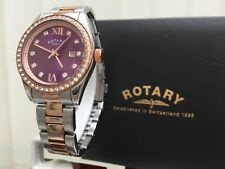 Ladies Rotary Watch Purple Dial Swarovski Crystals Two Tone Rose Gold pl. (r111