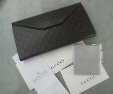 Authentic Gucci Eyeglass Sunglass Monogram Trifold Brown Leather Case & Cloth