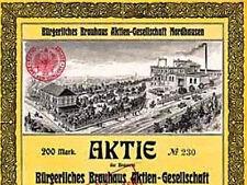 Bürgerliches Brauhaus AG Nordhausen Gründeraktie 1905 Thüringen Nordhäuser Bier