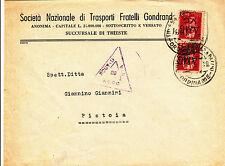 "AMG VG-Coppia 2L soprastampa-Busta Trieste->Pistoia ""ROUTED VIA ACCO"" 14.11.1945"