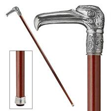 Solid Italian Pewter Art Deco Eagle Polished Hardwood Cane Walking Stick