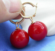 Fashion Women 14mm South Sea red Shell Pearl 14K Gold plating Earrings