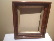 ANTIQUE 1800's VICTORIAN DEEP RECESSED WOODEN PICTURE FRAME W/GLASS