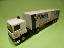 LION CAR DAF 95 400 ATI TRUCK + TRAILER - VICKS KEELPASTILLES - WHITE 1:50 - VG