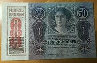1914 AUSTRIA HUNGARY 50 KRONEN KORONA NOTE SCARCE THIS NICE